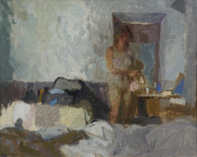 BERNARD DUNSTAN RA NEAC (b.1920) 'Sermoneta, morning' Oil on linen 11 13/16