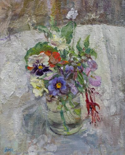DIANA ARMFIELD RA NEAC (B.1920) 'Flowers in February' Oil on canvas board 10