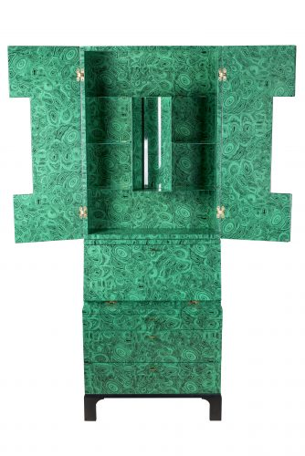 "A Fornasetti ""Malachite"" trumeau cabinet by Ateliers Fornasetti (Italy) Lithographically printed on hand colored lacquer, wood. The cabinet marked with atelier label to upper drawer and labelled to lower side. No.1 of 3, 2010, Measures: 218 cm high x 81 cm wide x 40.5 cm deep."