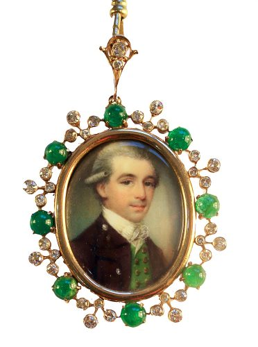 A fine portrait of a young Gentleman by James Nixon, set in the original gold frame with cabochon emeralds and diamonds