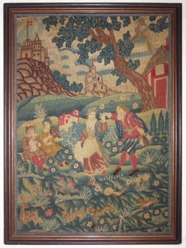 "An English needlework picture, first quarter of the 18th century 32"" (81.5cm) high and 23¾"" (60.5cm) wide"