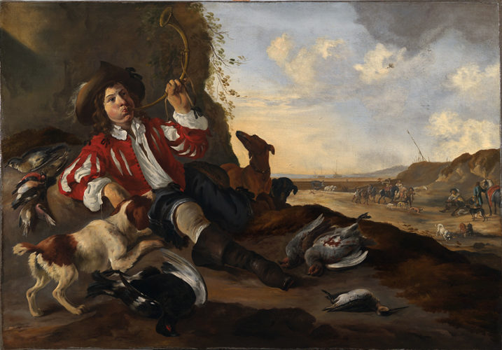 DIRCK STOOP (c. 1618-1686) A youthful sportsman reclining on a bank Oil on canvas 108 x 162 cm / 42 ½ x 63 ¾ in