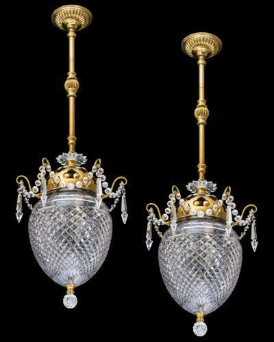 A fine pair of gilt lacquered & cut glass ceiling lights by F&C Osler English, Circa 1900 h 86.5 x w 30 cm