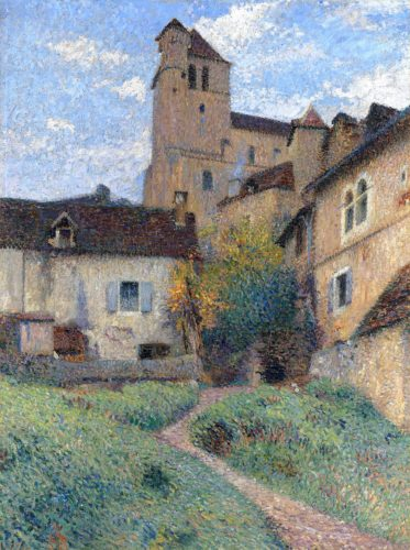 HENRI MARTIN (1860 – 1943) L'église de Saint-Cirq-Lapopie Oil on canvas 112 x 85 cms / 44 x 33 ½ inches