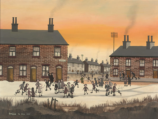 Brian Shields (BRAAQ) Kinder Street, Children Playing in the Snow Oil on Board 18