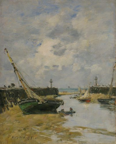 "EUGÈNE-LOUIS BOUDIN (French, 1824-1898) ""Les Jetées de Trouville à marée basse"" Oil on panel (11 x 8⅞ in – 27.9 x 22.5 cm)"