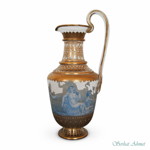 A Lobmeyr gilt and enameled ewer from the Triton series