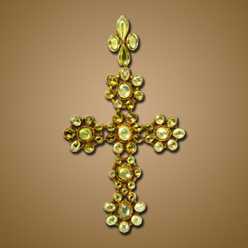 Antique Cat's Eye Chrysoberyl Cross Pendant, ca. 1820s