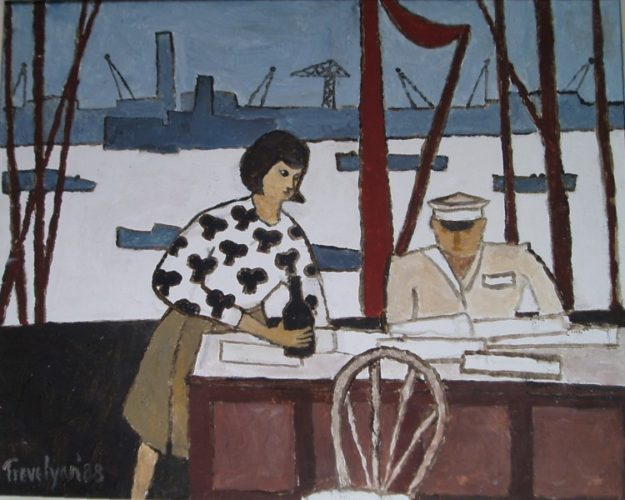 Customs by the Thames' by Julian Trevelyan RA; Oil painting 39 x 24 inches.