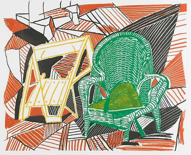"David Hockney (British, b. 1937) Two Pembroke Studio Chairs Original Lithograph in colours 19"" x 22"