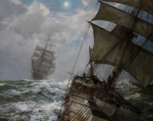 "MONTAGUE DAWSON, RSMA, FRSA (British, 1895-1973) ""Nocturne"" Oil on canvas (40 x 50 in – 101.6 x 127 cm)"