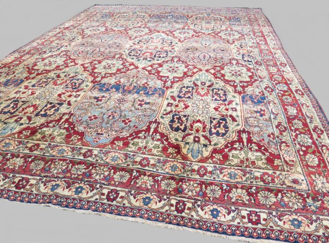 Exceptional fine 19th century Laver Kirman carpet Size: 3.42 x 2.27 metres - 11'3 x 7'5 feet An elegant example with a remarkable crisp drawing and artistic overall pattern derived from earlier 17th century pieces. A true one of a kind.
