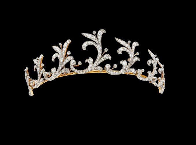 This wonderful tiara was acquired by Lewis, 1st Viscount Harcourt, for his wife in 1900 and is made in 18ct yellow gold and platinum and is entirely pave set with fine white diamonds.