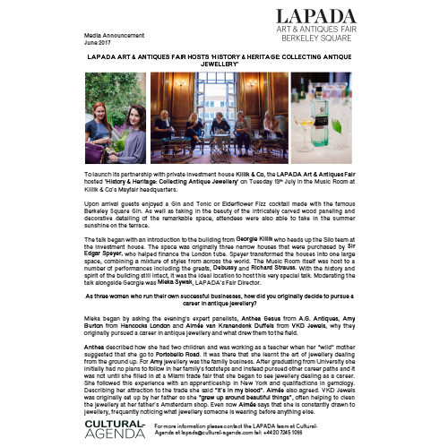 Press Release - LAPADA Fair hosts 'History & Heritage: Collecting Antique Jewellery'