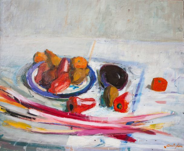 John Cunningham 'Still life with rhubarb' Oil on board 28 x 34 in