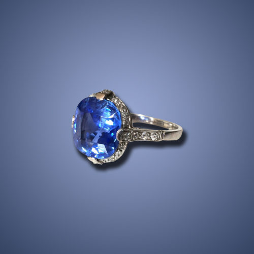 Art Deco Kashmir Sapphire (6ct) and Diamond Ring, ca. 1920s