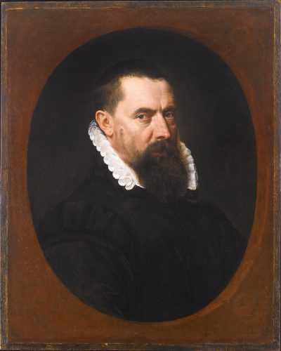 ADRIAEN THOMASZ. KEY (ANTWERP C. 1544 - ANTWERP, AFTER 1589) Portrait of a Bearded Gentleman, Bust-Length, in a Black Doublet with a White Lace Ruff oil on panel, painted in a feigned oval 75.6 x 60.3 cm (29¾ x 23¾ in)