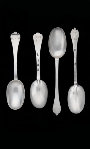 Pair of William III Trefid Spoons, engraved IM over ID to back of stem and MS to front, marked for London 1697, maker Isaac Davenport & Pair of Queen Anne Trefid Spoons, interestingly prick initialed IT over IG over 1699, marked for Exeter 1706, maker John Elston.