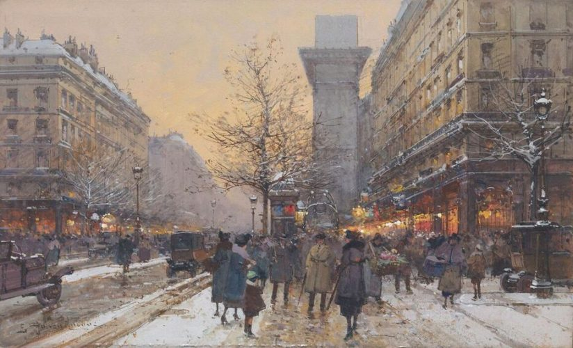 EUGÈNE GALIEN LALOUE 1854 -1941 La Porte St Denis, Paris Gouache, signed 7 x 11½ in.