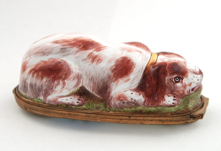Enamel bonbonniere in the form of a recumbent Spaniel. Bilston, c.1770