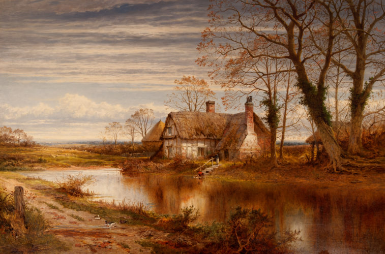 BENJAMIN WILLIAMS LEADER 'A Worcestershire Cottage' Oil on canvas ~ 36 x 54 inches