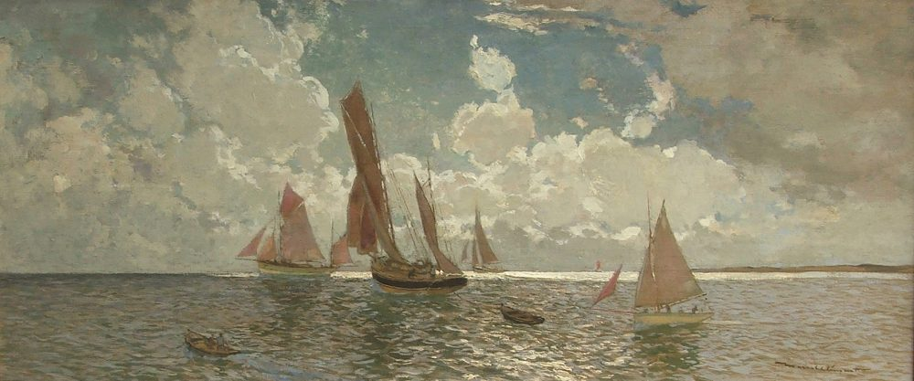 AMÉDÉE JULIEN MARCEL-CLÉMENT b.1873 Fishing Fleet off the Brittany Coast Oil on canvas, signed 18 x 39 in.