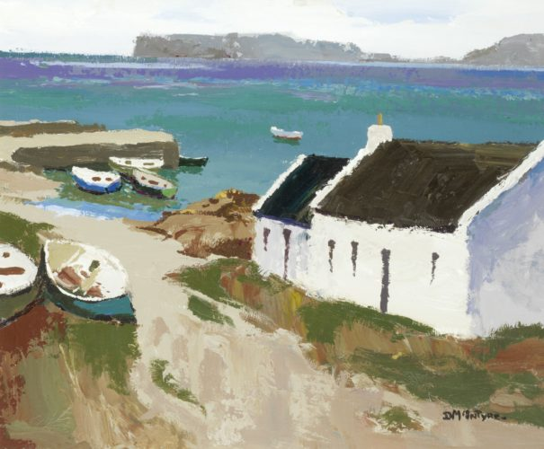 Donald McIntyre 'Houses by the Sea' Acrylic on Board 20