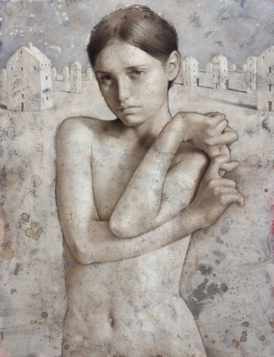 Michal Lukasiewicz 'Entwinded' Acrylic and gesso on canvas, 105 x 80cm