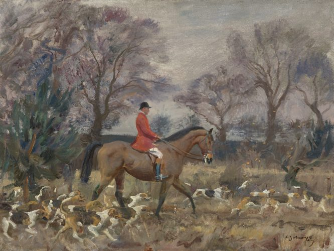 "SIR ALFRED J. MUNNINGS, KCVO, PPRA (British, 1878-1959) ""The Belvoir Hunt"" Oil on canvas (18½ x 24½ in – 47 x 62.2 cm)"