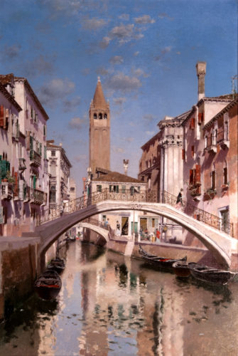MARTIN RICO Y ORTEGA 'Rio San Barnaba, Venice' Oil on canvas ~ signed ~ 27 ½ x 19 inches