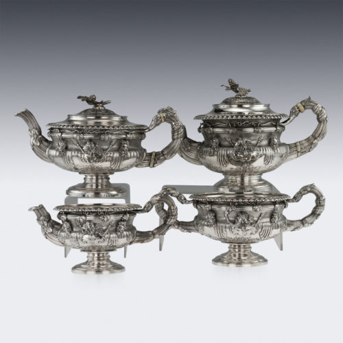ANTIQUE 19TH C. GEORGIAN SOLID SILVER WARWICK TEA & COFFEE SET, HENNELL III c.1820