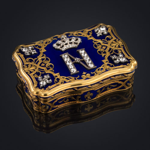 ANTIQUE 19TH C. FRENCH JEWELLED GOLD AND ENAMEL BOURBON PRESENTATION SNUFF BOX, ARTHUR GOOSSENS c.1855