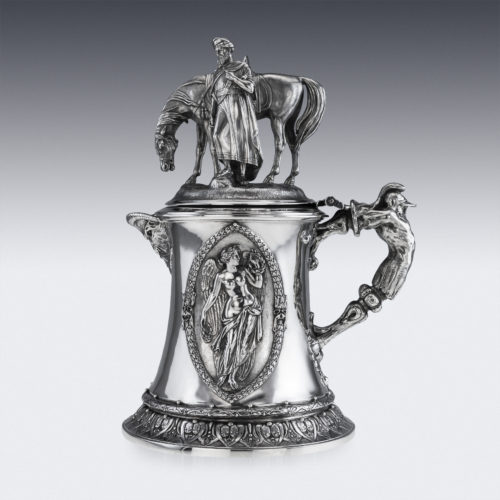 ANTIQUE 19TH C. VICTORIAN MONUMENTAL SOLID SILVER FIGURAL FLAGON C.1868