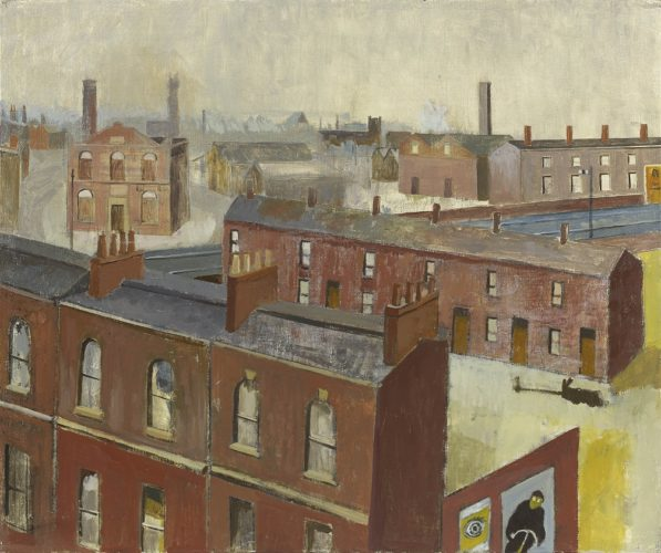 Simon Quadrat PPRWA NEAC Terraced Buildings Oil on canvas 18 x 24 in (46 x 61 cm)