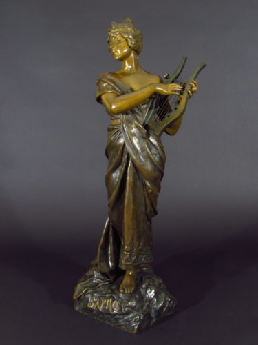 'Sapho' c.1900 By Emmanuel Villanis (1858-1914) French Foundry Societe des Bronzes de Paris Height: 72cm Bronze