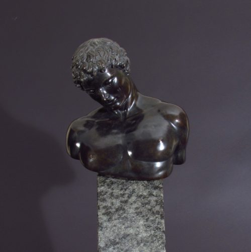 'The Doubt of Ikarus' 1992 By Margot Homan Mariani Art Foundry, Pietrasanta, Tuscany Bronze with granite base Height 71cm