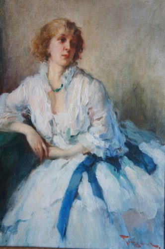 "Fernand Toussaint (1873 - 1955) ""The Blue Sash"" Oil on Canvas. Signed"