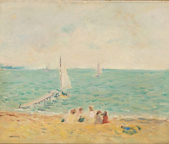 ANDRÉ BARBIER 1883 – 1970 Plage de Cannes Oil on canvas, signed 18 x 21½ in.