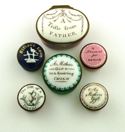 Collection of rare familial enamel patch boxes c.1780 - c.1810