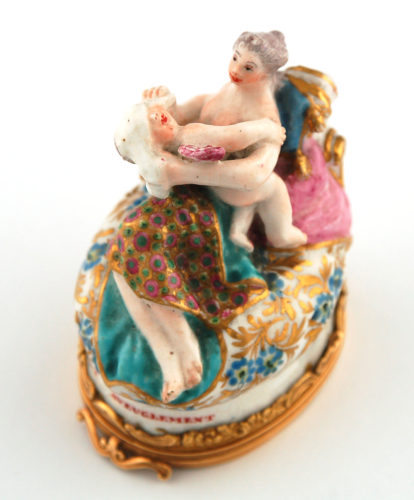 Gold-mounted Chelsea porcelain bonbonniere of a mother and baby c.1755