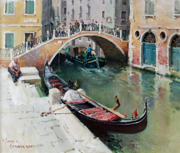 "TERENCE CUNEO (1907-1996) ""Moored Gondola, Venice"", signed and dated 1988 Oil on canvas 20"" x 24"" (50 x 60cm)"