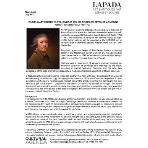 Press Release - Newly discovered Wright of Derby to be exhibited at the LAPADA Fair