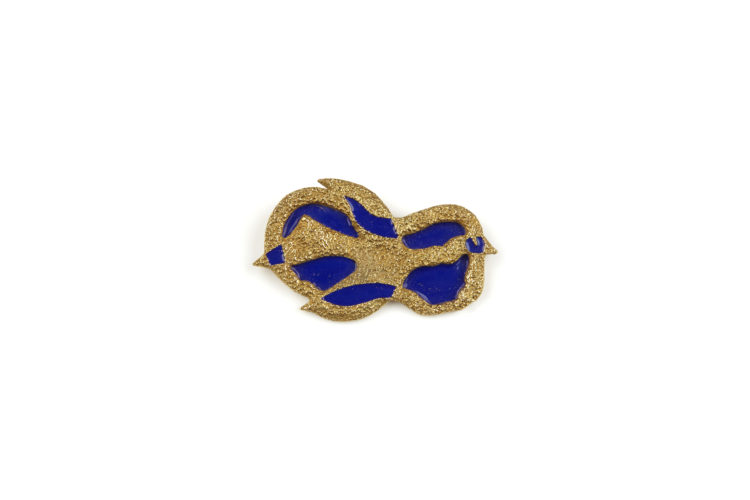 Georges Braque Antiborée (1963) 18ct textured gold brooch decorated with dark blue enamel