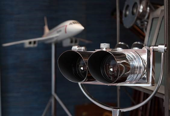 Pair German military binoculars c.1940 and 1:36 scale model of Concorde