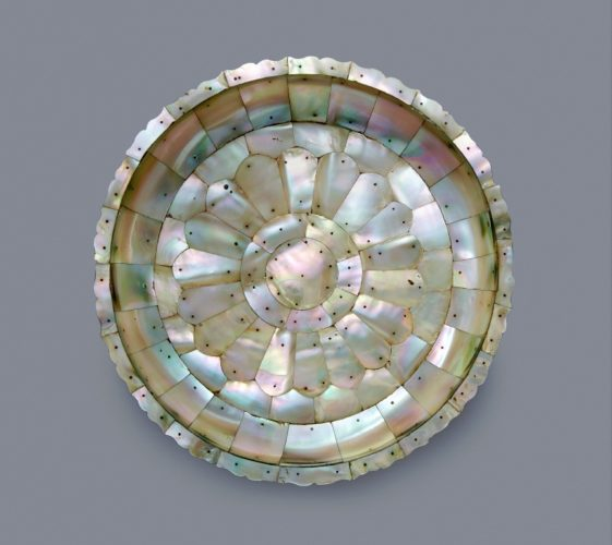 A Mother-of-Pearl Dish, metal pins, India Gujarat, 16th Century