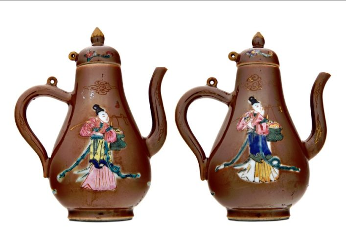 "A Pair of Brown Glazed, capucine, Chinese Export Porcelain Jugs with covers, depicting ""Long Eliza"", c.1730-1740"