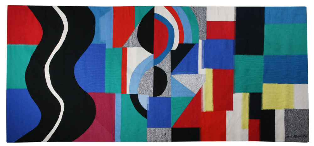 "Sonia Delaunay (France, 1885 - 1979) SERPENT NOIR Signed ""Sonia Delaunay"", dated ""1971 décembre"" and numbered ""1/6"" Wool tapestry handwoven by Atelier Pinton, Aubusson 311 x 148 cm"