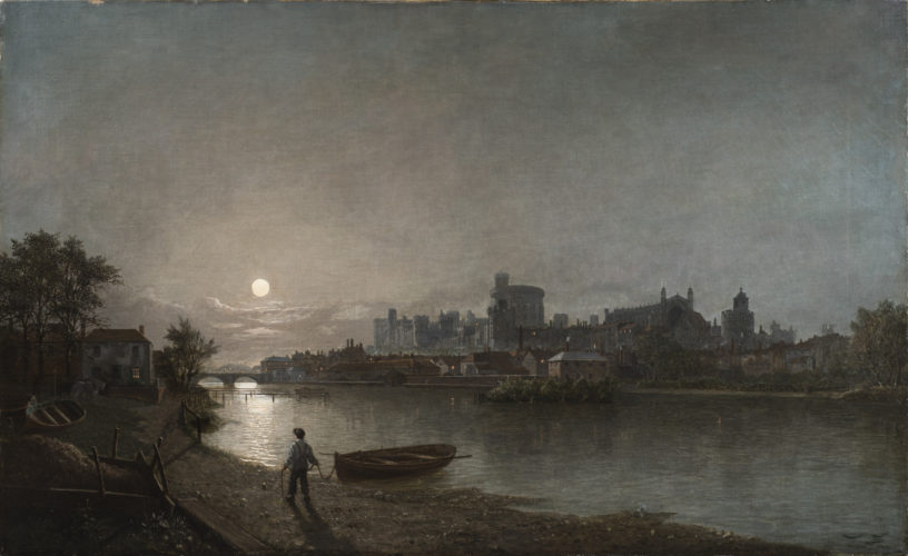 Henry Pether (Flourished 1828 - 1865) 'View of Windsor Castle Looking at the Lower Ward by Moonlight' Oil on canvas 30 x 50 in