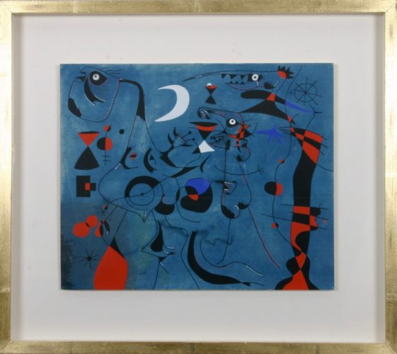 Pochoir print after the original painting by Joan Miró. One of 22 prints, each with the printed signature,
