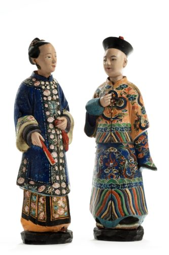 Pair of 19th century Chinese terracotta nodding head figures. Chinese, circa 1830